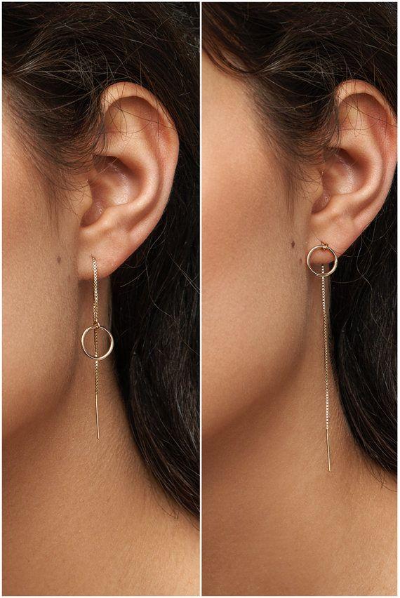 b3d30c45e Threader Earrings, Ear Threader, Long Chain Earrings, in 14kt Gold ...