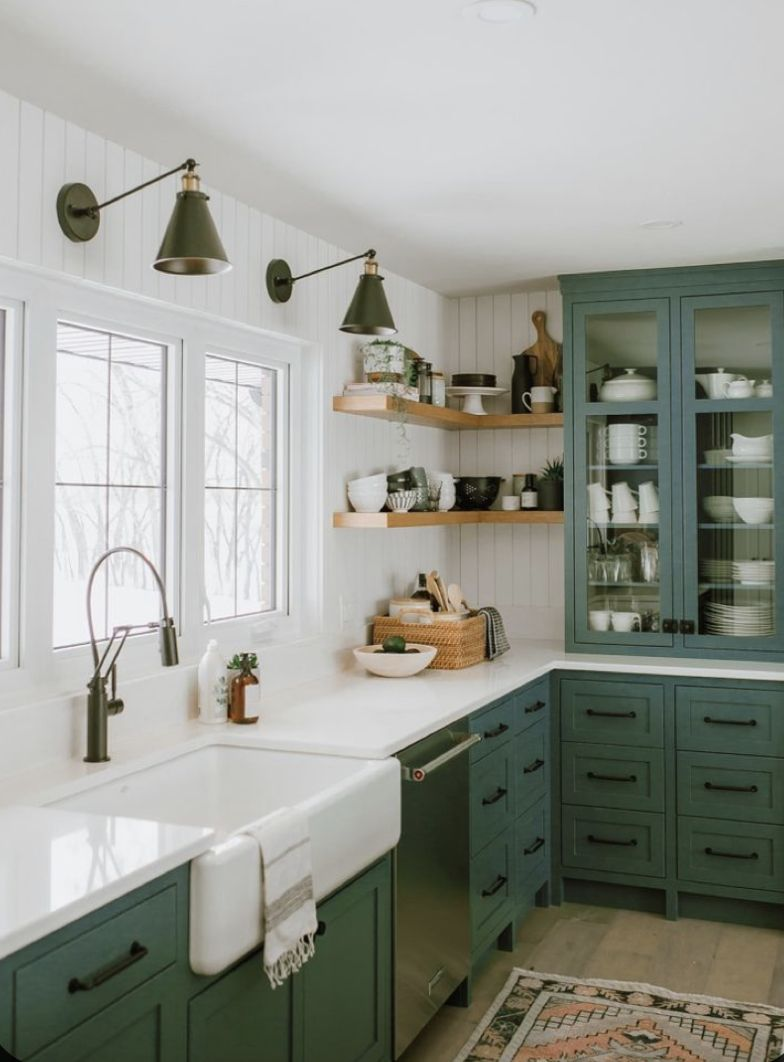 Pin By Kimberly Carpenter On Penird Kitchen Design In 2020 Green Kitchen Cabinets Diy Kitchen Renovation Farmhouse Kitchen Cabinets