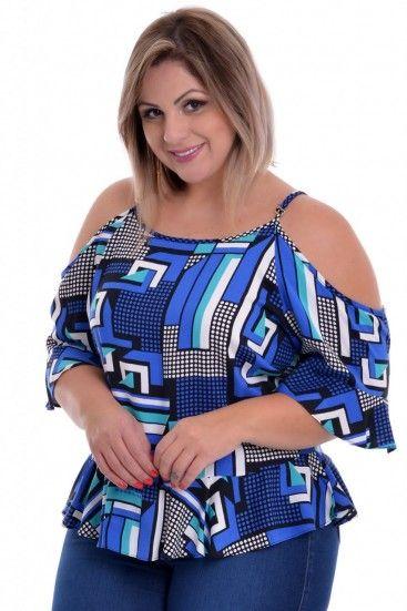 e09c22d702bf02 Blusa Plus Size Print Blue | blusa | Blusas, Roupas para gordinhas e ...