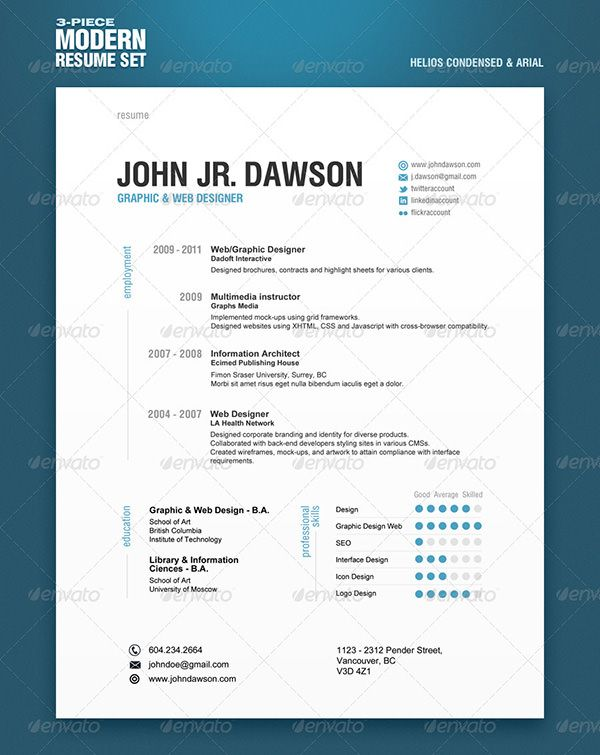 Modern 3 Piece Resume Template Set