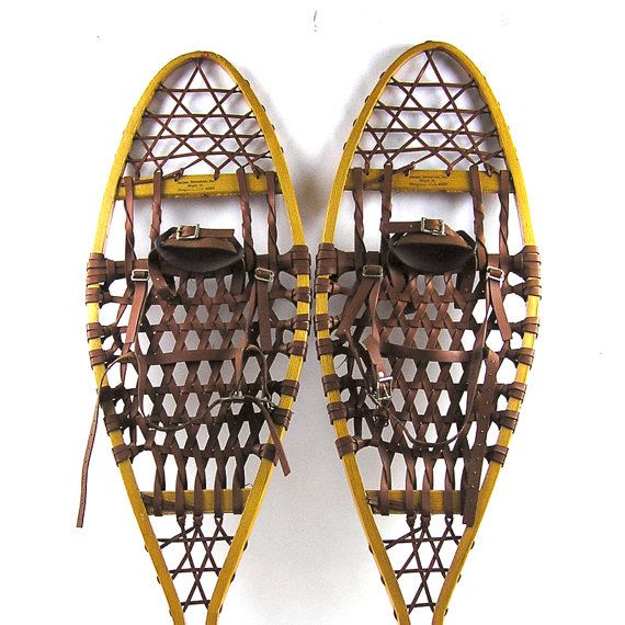 Vintage 1980s Iverson Wood Frame Snowshoes With Bindings