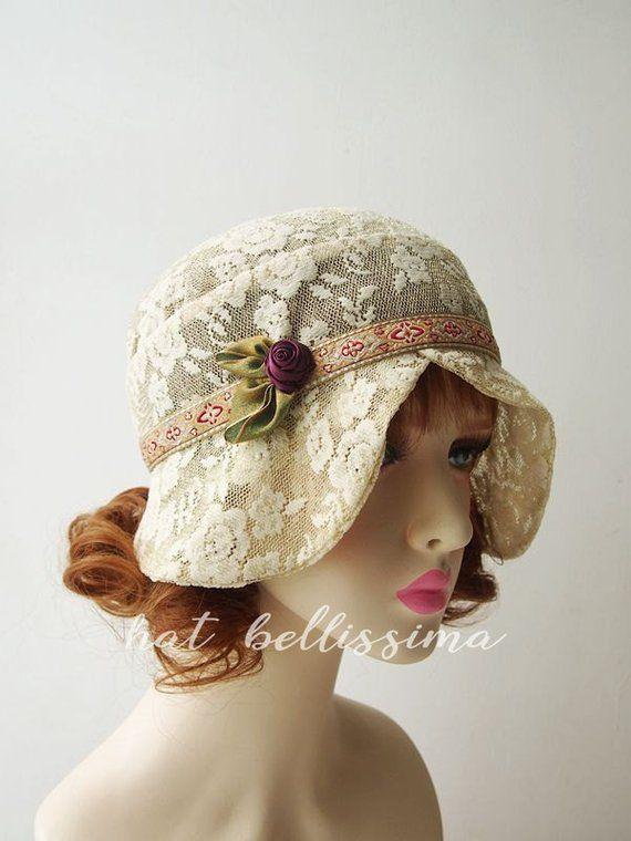 5e2daf0d7 khaki 1920s Cloche Hat flowers cotton Lace fabric Vintage Style hat ...