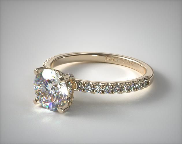 18k Yellow Gold Petite Pave Crown Diamond Engagement Ring In 2020 Fine Engagement Rings Wedding Rings Unique Best Engagement Rings