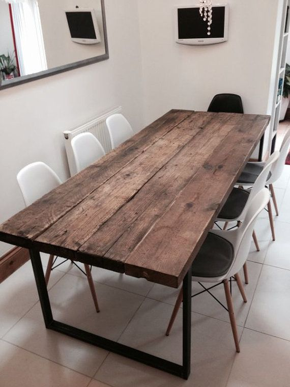 Here Is Our 6 8 Seater Dining Table Made From Reclaimed Timber And Steel The Top Solid 21 2 Thick Grain Look Of Wood