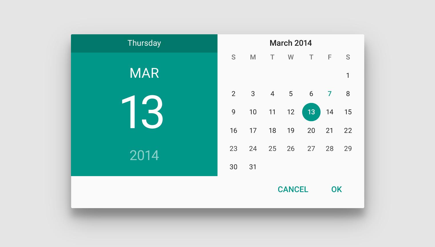 Calendar Material Design Javascript : Pickers components google design guidelines ui