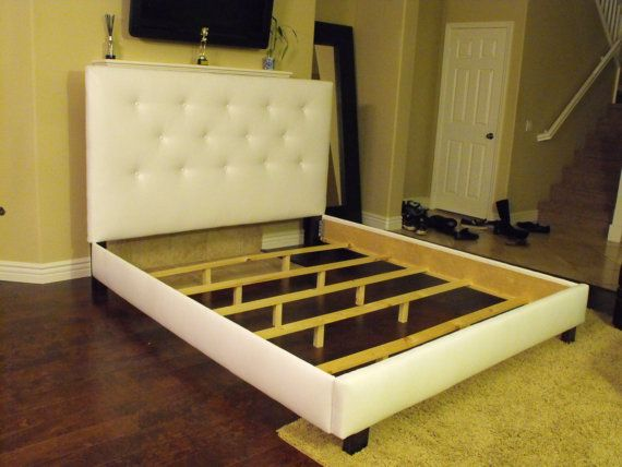 White Queen Bed Frame With Button Tufted Headboard 375 00 Via