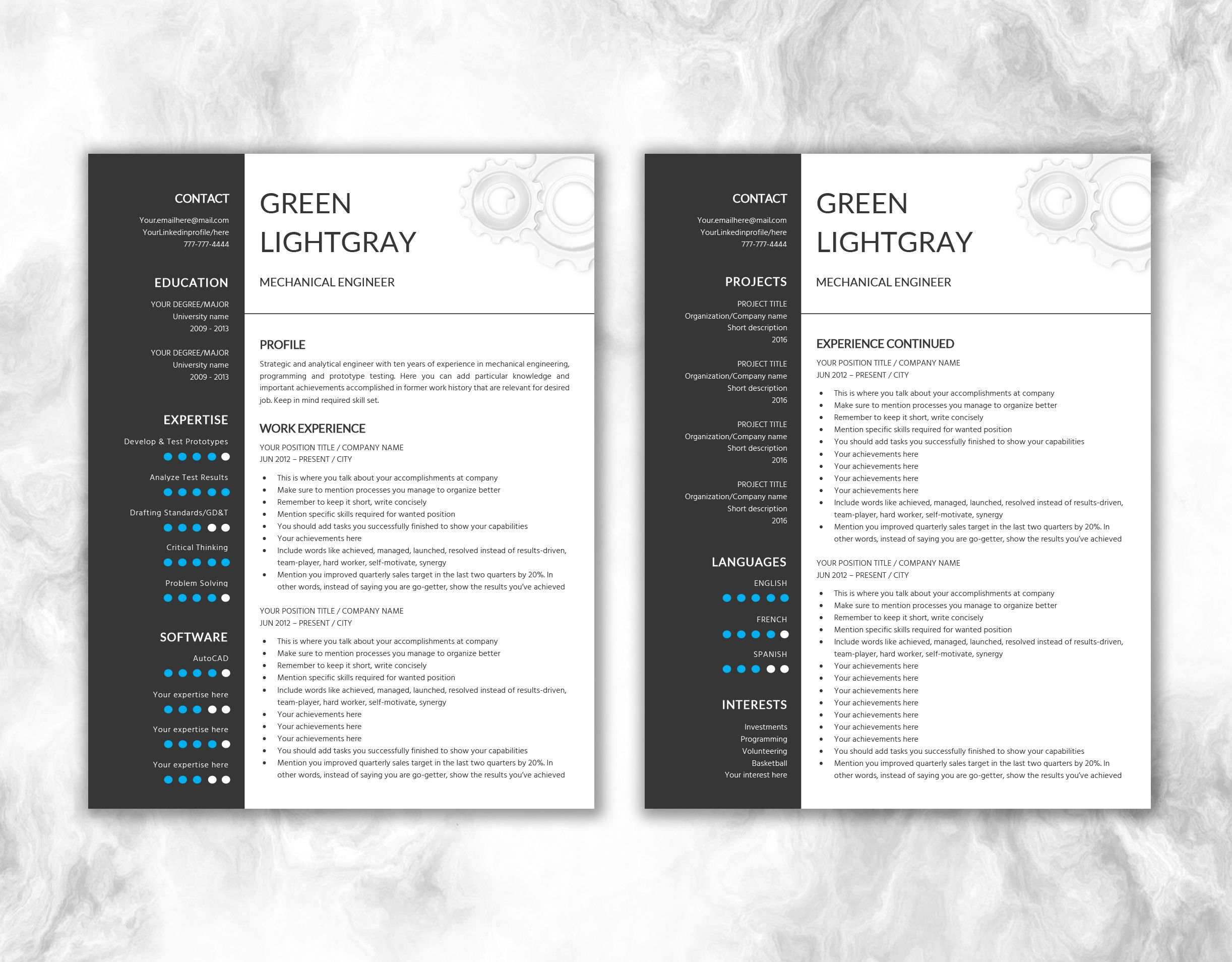 Engineer Resume Printable Template Editable in Word | Gear Design ...