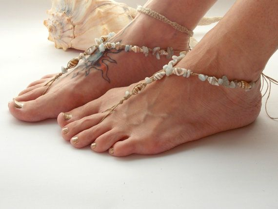 14357518cf7d7 Hemp Aquamarine BAREFOOT SANDALS Seashells Beach Footwear Hippie Shoe beach  sandals Foot Jewelry Toe Thong