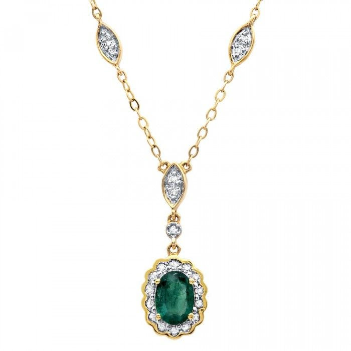14k Yellow Gold Emerald Center Flower Necklace with Diamond Accents - Necklaces - Women's Jewelry