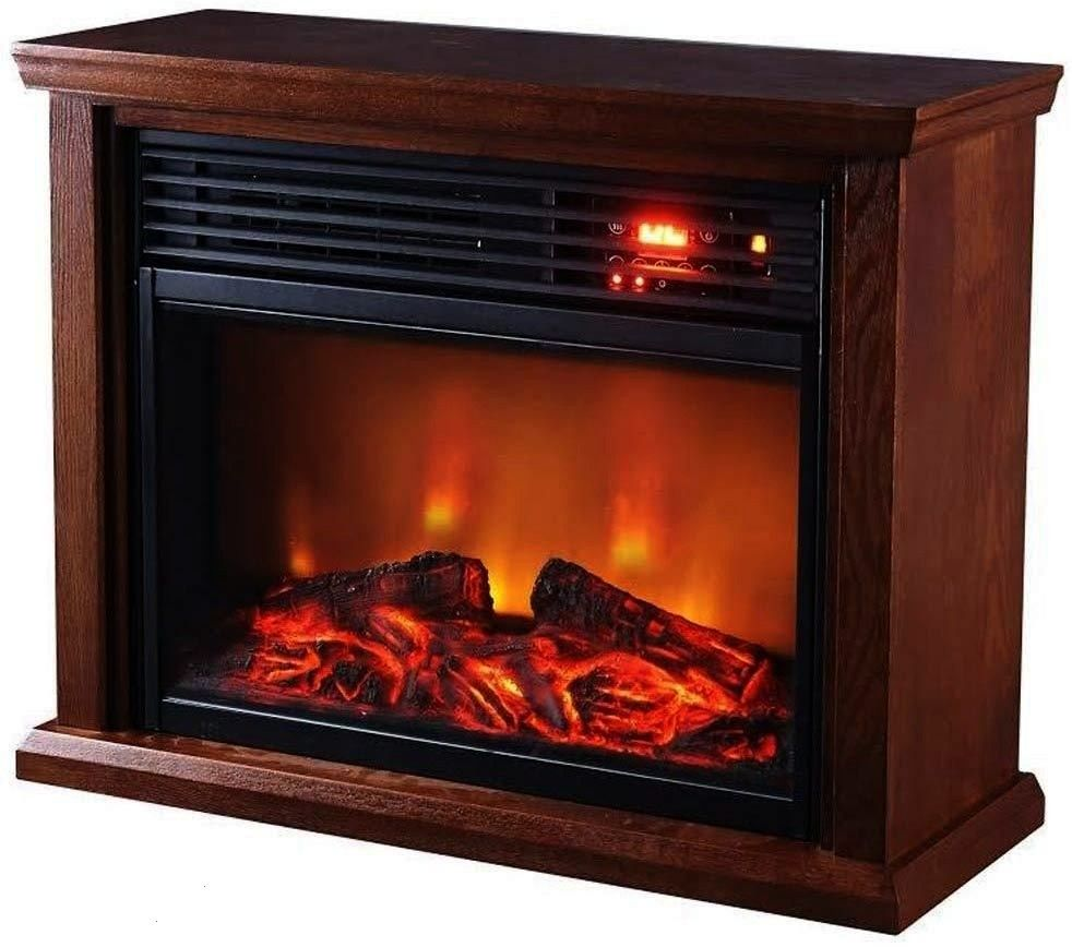 Thermal Wave Dark Oak Infrared Electric Portable FireplaceSunheat Thermal Wave Dark Oak Infrared Electric Portable Fireplace Designed with a grooves that can be placed on...
