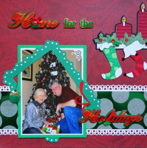 Christmas scrapbook page with the Dots frame from Cricut's Elegant Edges - from Christmas Album 4