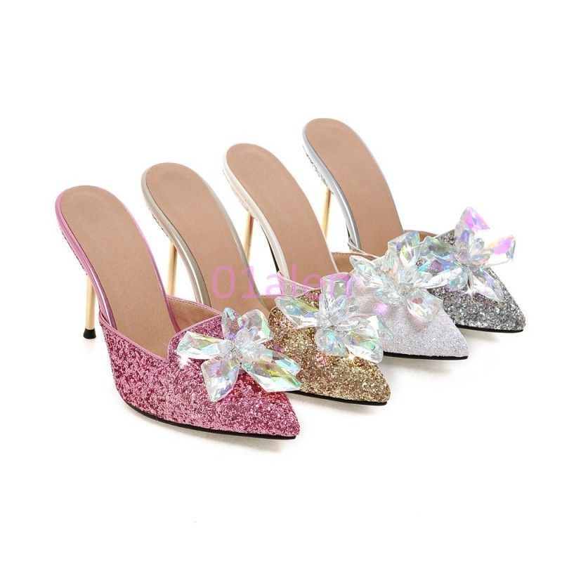 a5ff96c34c23da Womens Glitter Bling Bling High Heel Stilettos Clear Flower Mules Dress  Slides