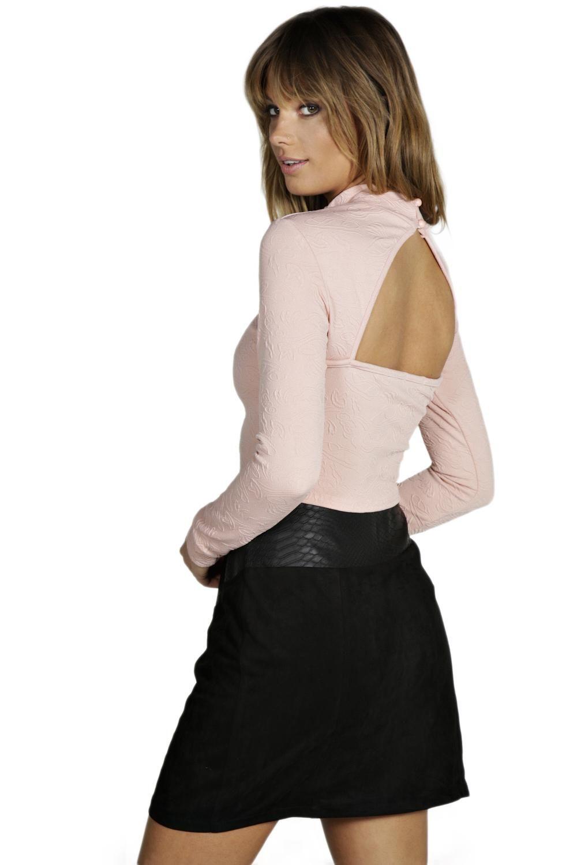 Kayla Jacquard Fabric Cut Out Back Top