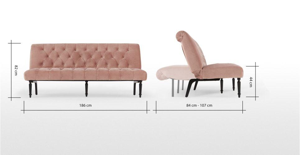Slipper Sofa Bed Vintage Pink Velvet Made