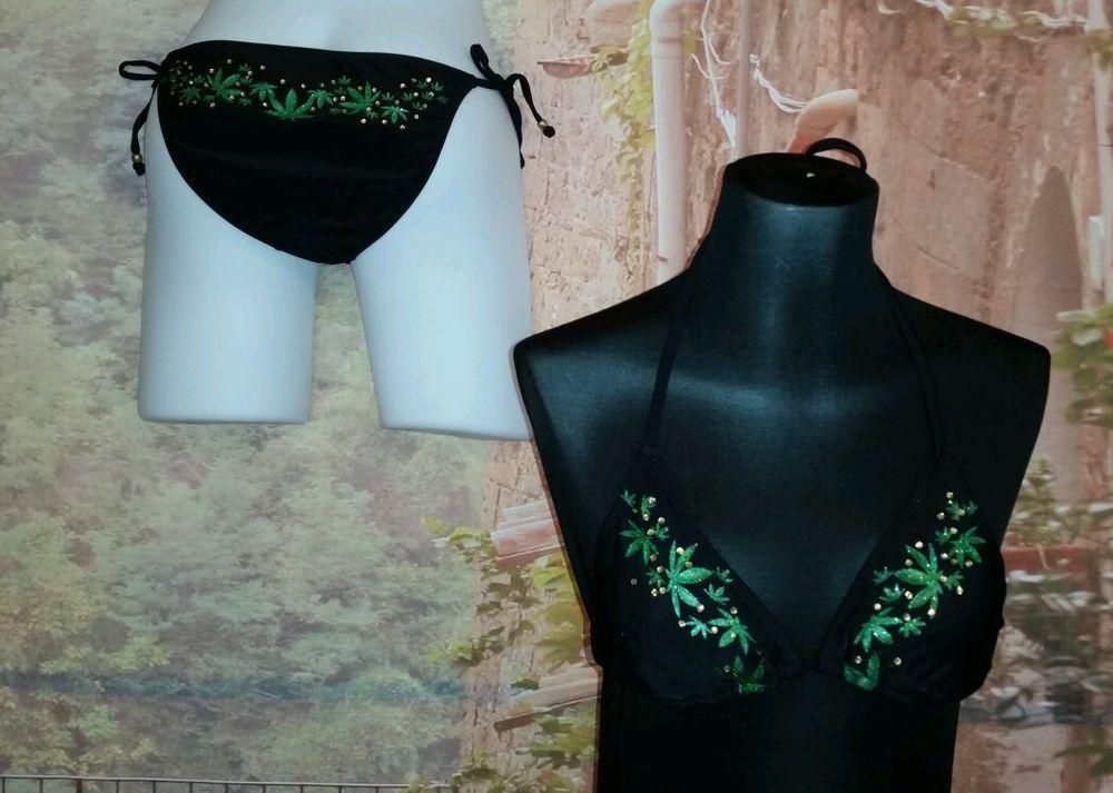 Spencers 420 Pot Leaves Black Bikini Small Bathing Suit Marijuana ...