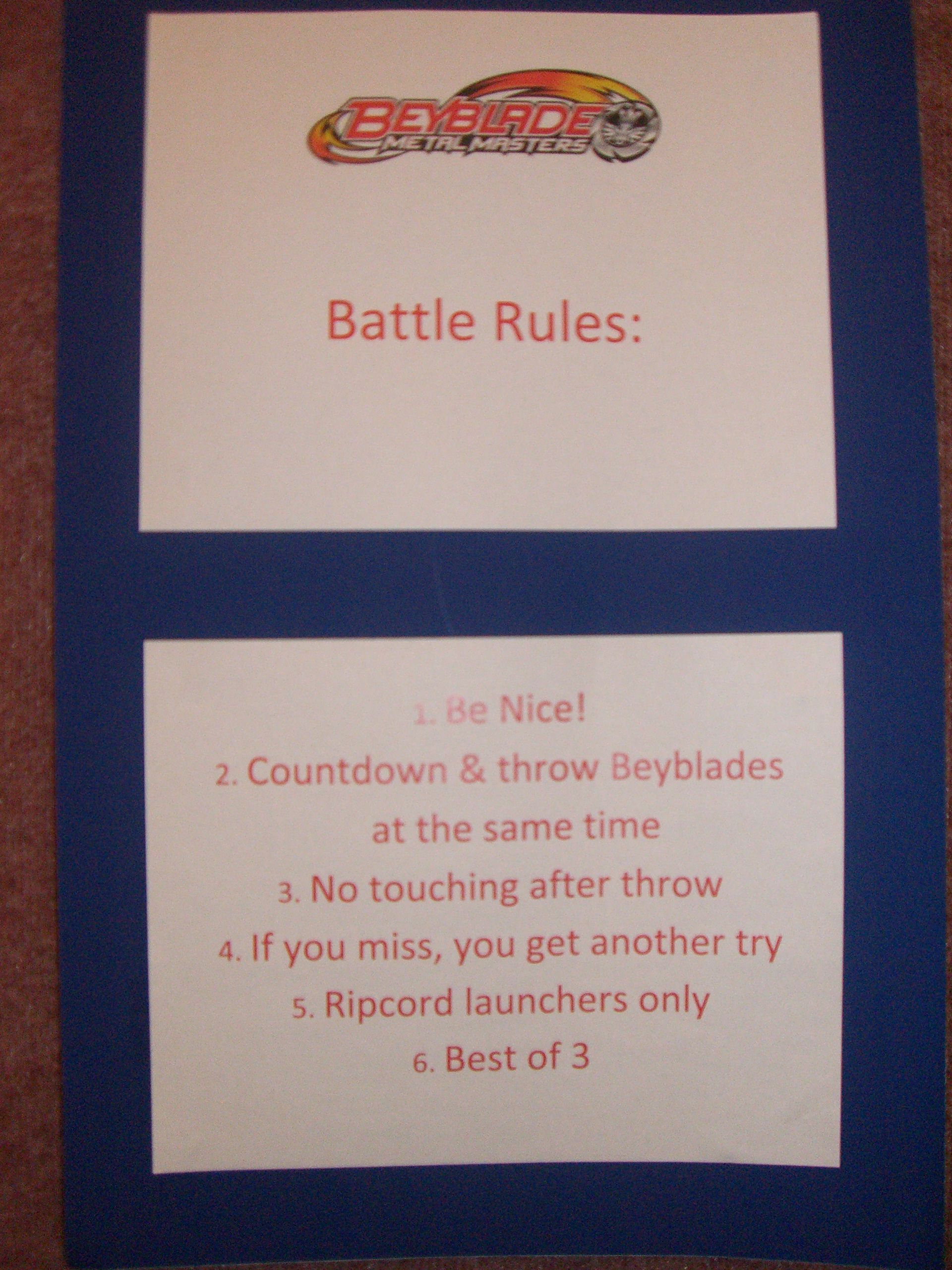 Beyblade Party The Battle Rules Jebbie S 7th Birthday