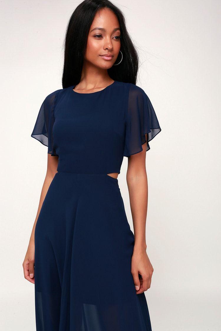 41+ Bohemian rhapsody navy blue cutout high low dress ideas
