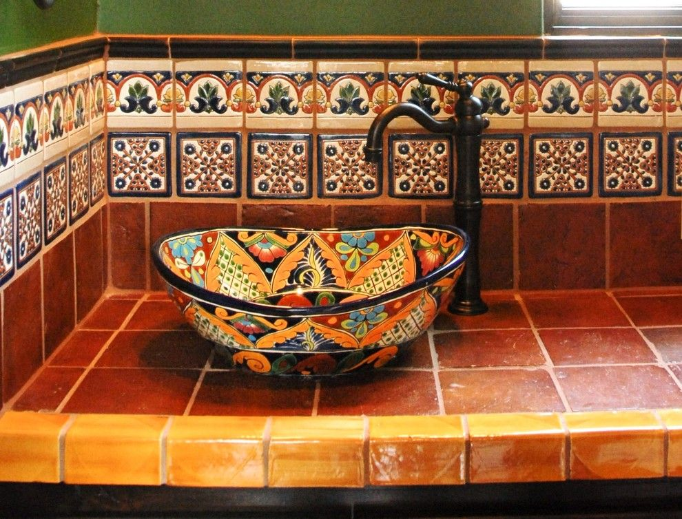 Design Ideas With Bathroom Decorative Tile Hacienda Mexican Tile Mexican Style Homes Mexican Home Decor Mexican Tile Bathroom