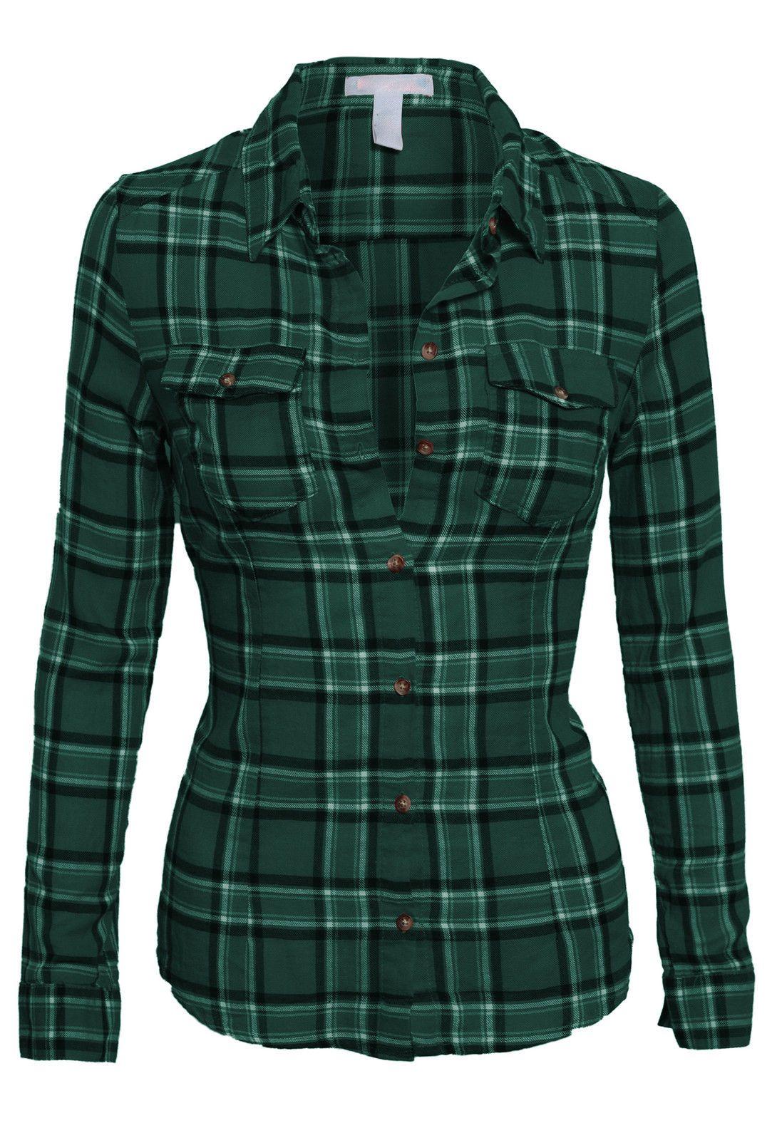 Flannel shirt women  WomenuS Classic Collar Button Down Long Sleeve Lightweight Plaid