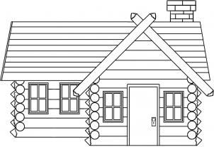 How To Draw A Log Cabin Simple House Drawing House Colouring Pages House Sketch