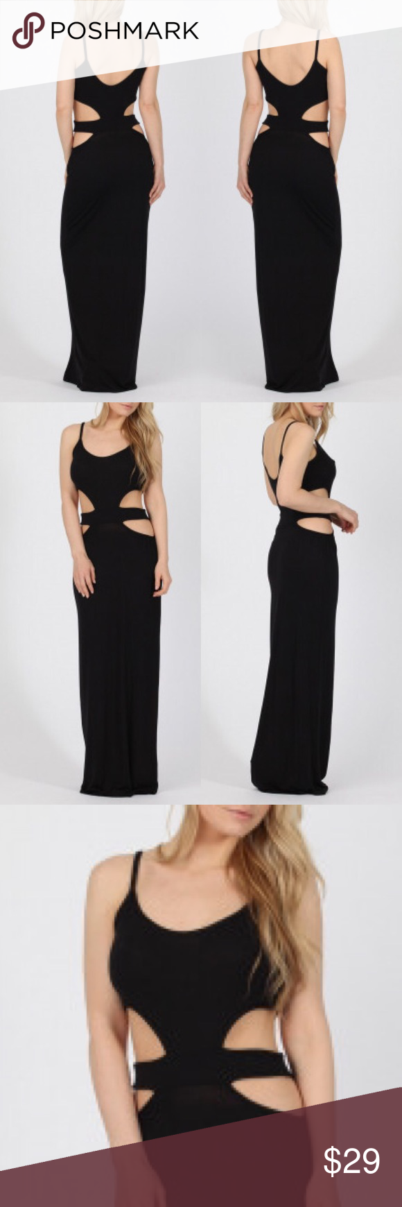 One Left Black Waist Cutout Bodycon Maxi Dress Fashion Women Clothing Boutique Clothing Boutique Ideas [ 1740 x 580 Pixel ]