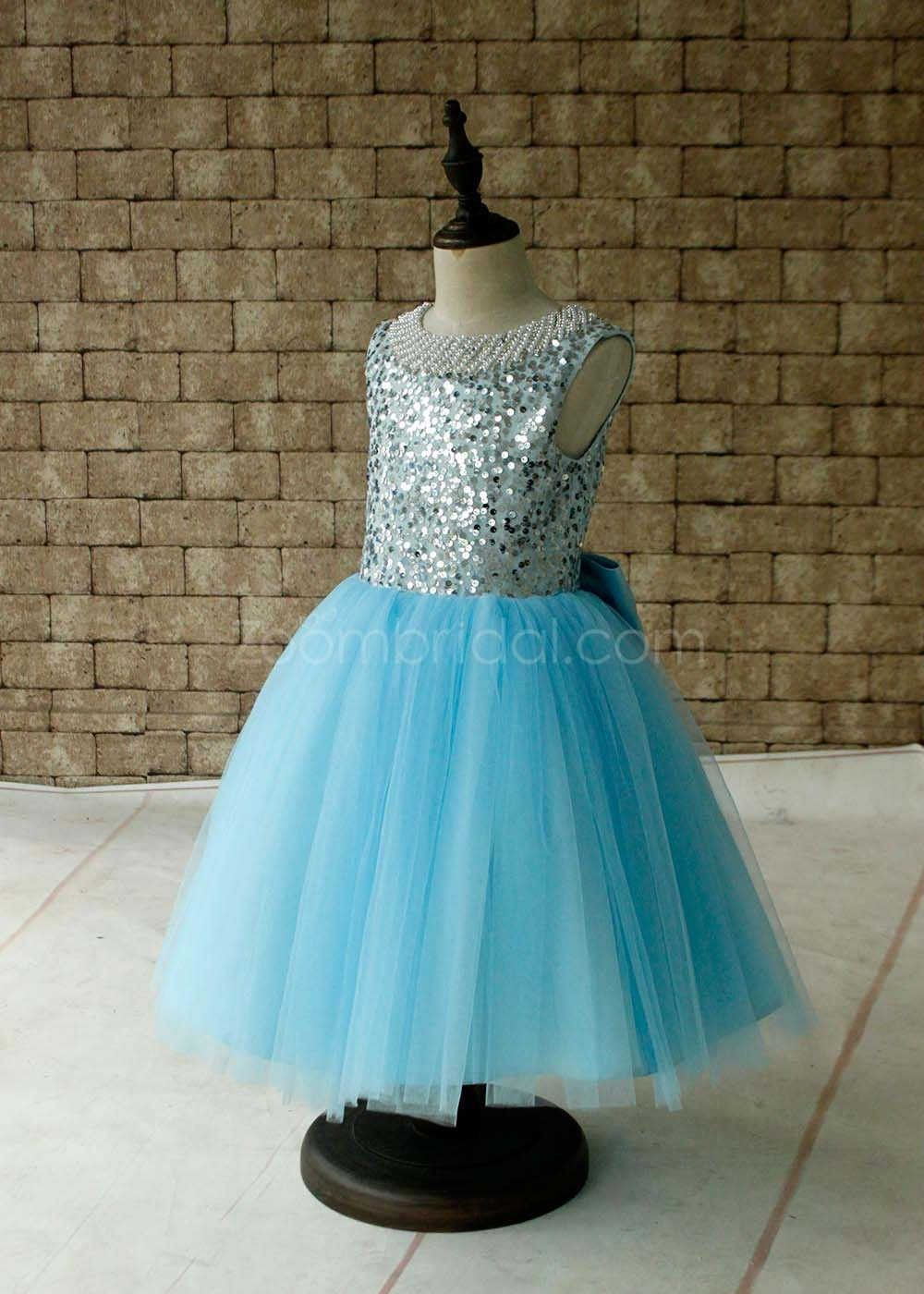 25b289afff525 Light Blue Tutu Sequined Flower Girls Dress Keyhole Back with Bow ...