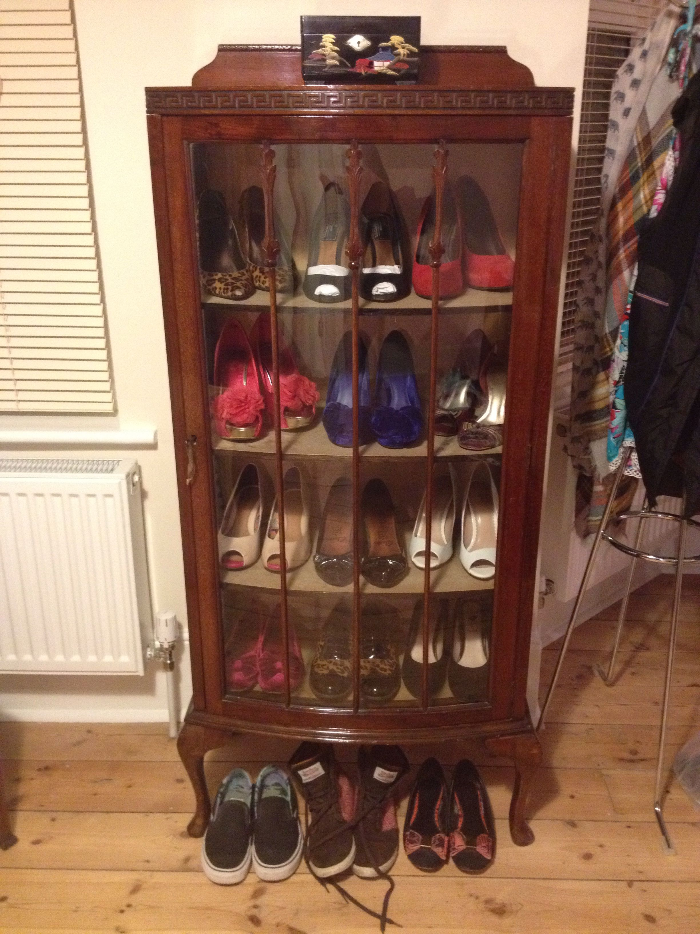 A Fun Idea For Old Display Cabinets Less China More Shoes Vintage Storage