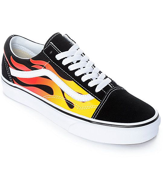 Vans Old Skool Flame Black & White Skate Shoes | Skate shoes