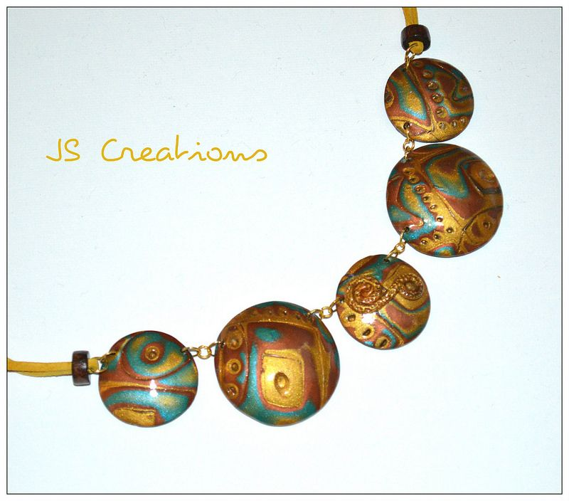 """The sky and the golden fields"" polymer clay necklace"