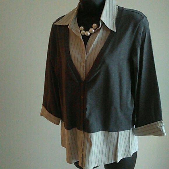 Sweater Shirt Combo Sweater Shirt Slacks And Heather Grey
