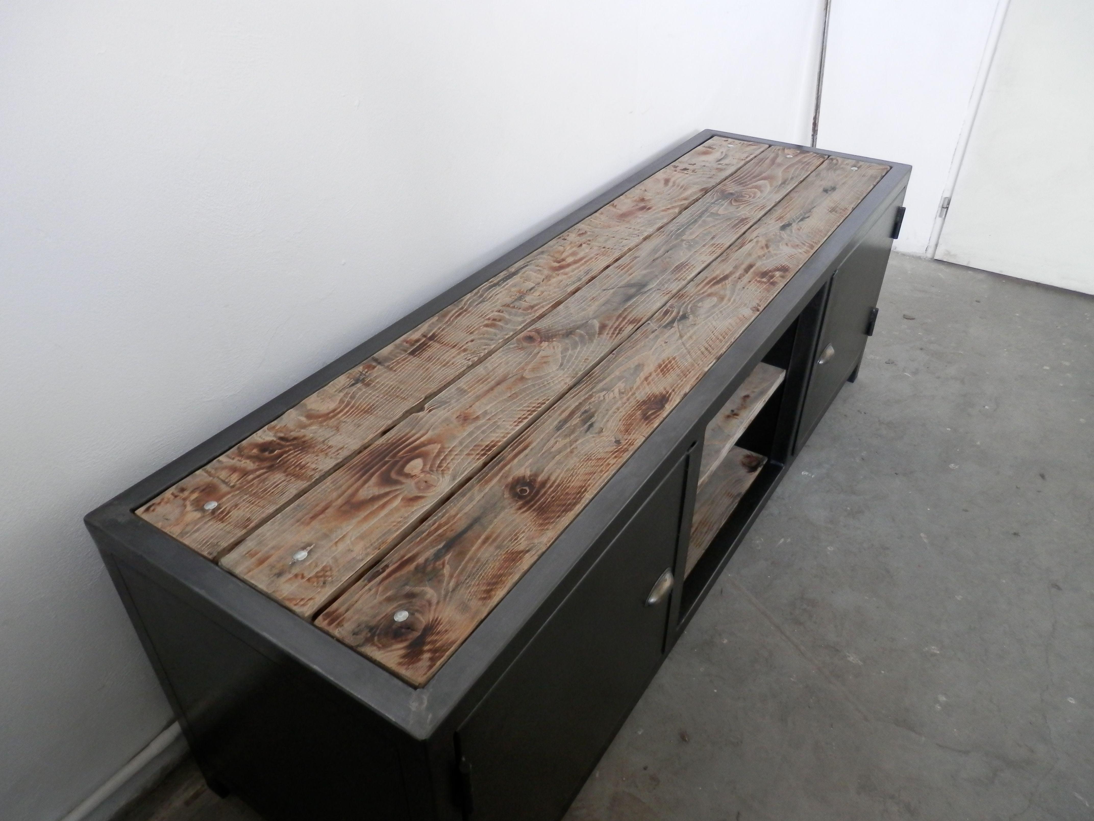 meuble tv fer bois industriel