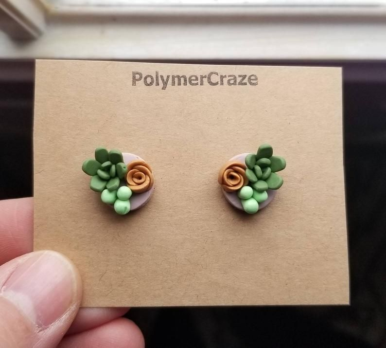 Photo of Polymer clay succulent stud earrings, succulent stud earrings, succulent jewelry, succulent birthday gift for her trends, plant lover gift