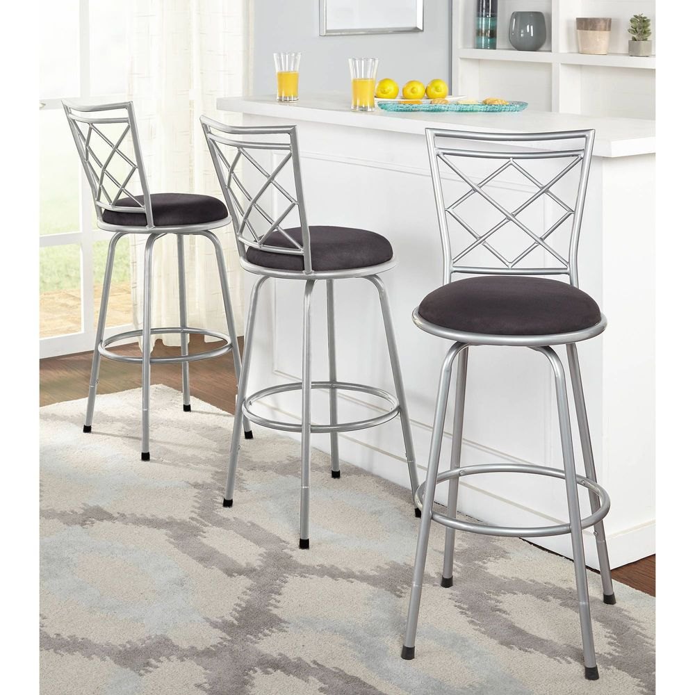 Bar Stools Set Of 3 Swivel Modern Chair Counter Height Pub Steel Seat Kitchen Avery Bar Stools Metal Bar Stools Swivel Bar Stools