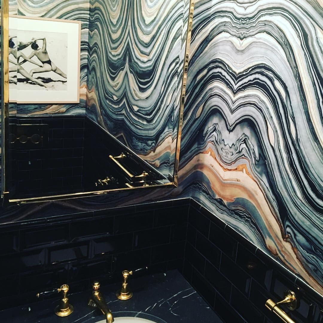 "350 Likes, 18 Comments - Jesse Carrier & Mara Miller (@carrierandco) on Instagram: ""#powderroom #perfection in our #bk #townhouse project with this amazing @robertcrowderco #wallpaper…"""