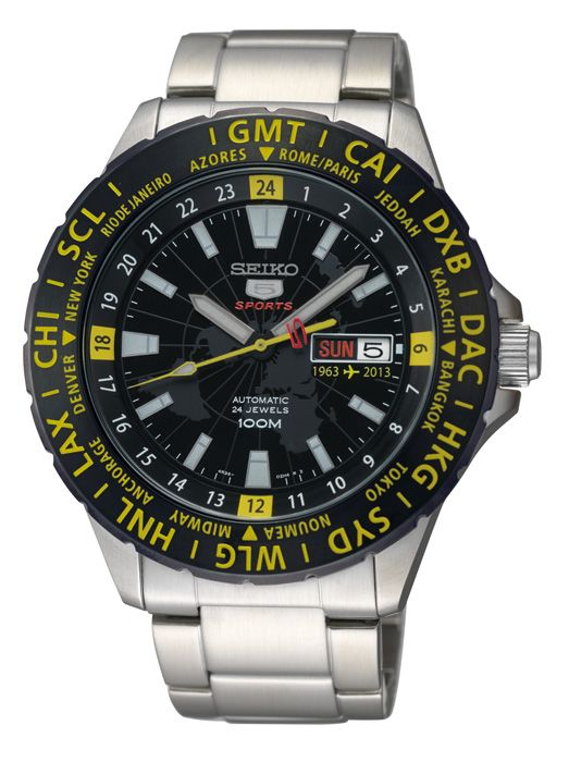 bde890e6941 Seiko 5 Sport GMT 50th Anniversary with airport arrival departure board  inspiration.