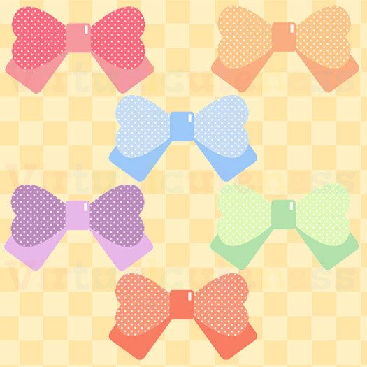 So cute! Polka Dot Bows Clipart - Girly Hair Bows, Printable ...