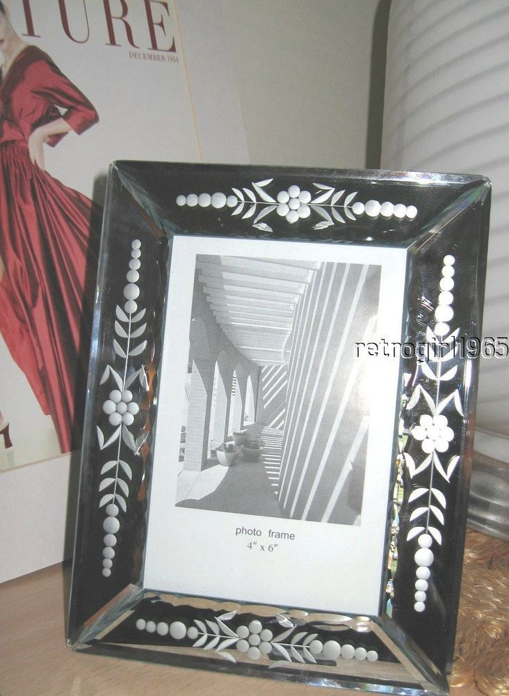 Venetian Mirror Glass Beveled Etched 4 x 6 Picture Frame~#3 ...