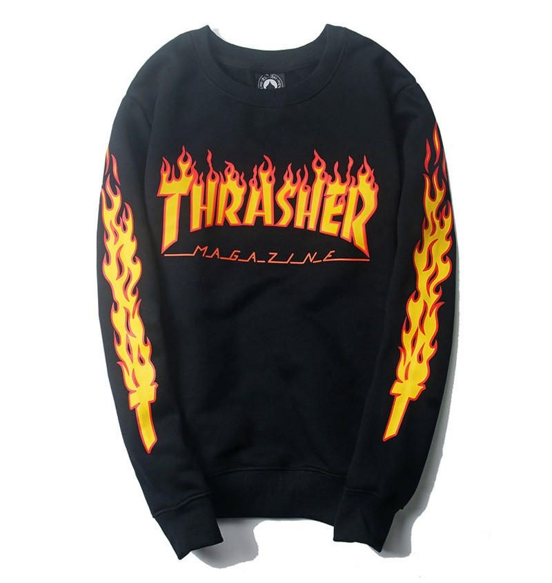 429b45b9ae0 Thrasher Magazine Flame Logo Black Crew Neck Sweatshirt from JAKKOUTTHEBXX.  Shop more products from JAKKOUTTHEBXX on Wanelo.