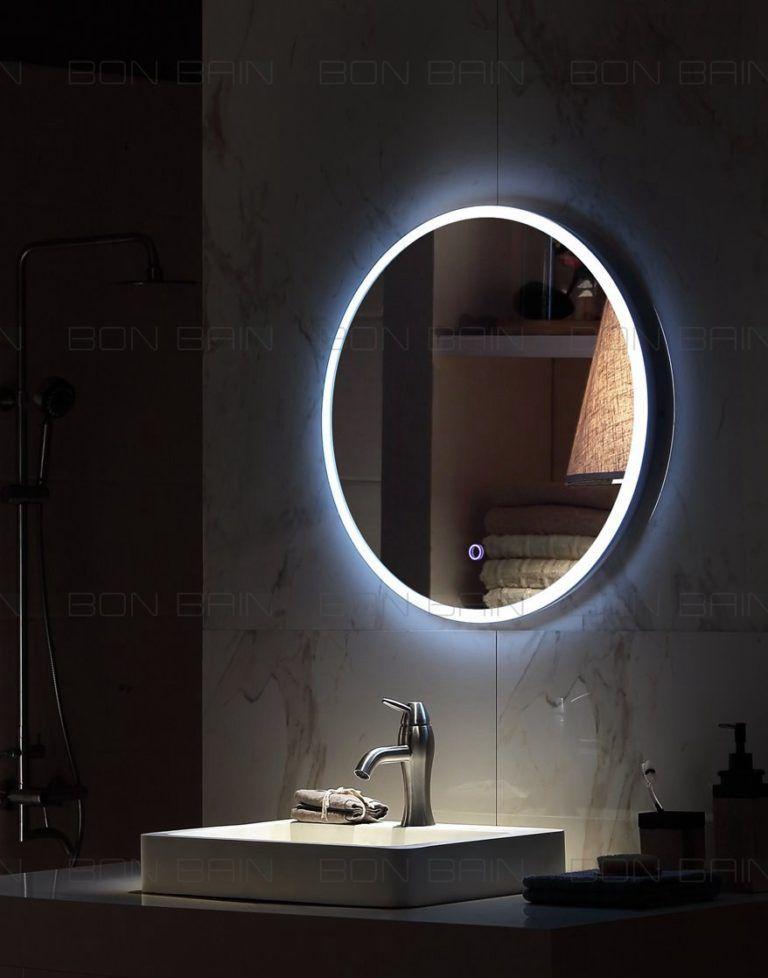Miroir Salle D Eau Avec Eclairage Rond Touche Sensif Miroir Lumineux Miroir Salle De Bain Miroir Rond Salle De Bains
