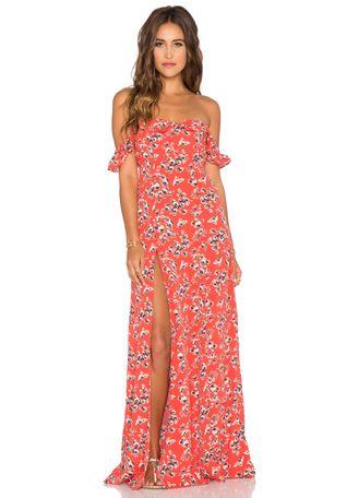 FLYNN SKYE x REVOLVE Bardot Maxi Dress in Red Ditsy | REVOLVE