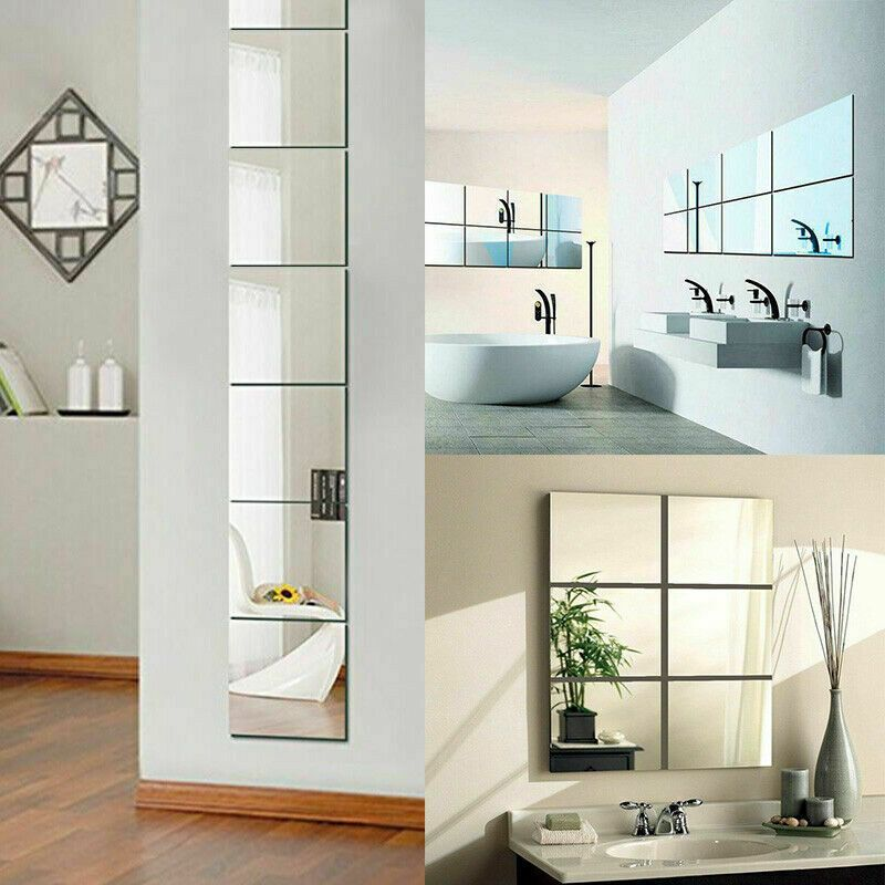 9//16pcs Mirror Tile Wall Sticker Square Self Adhesive Stick Modern Art DIY Decor