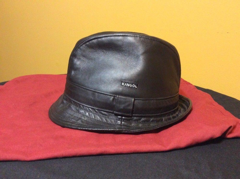 d0b3c00b875 Mens Black Leather Kangol Bucket Hat (size large)