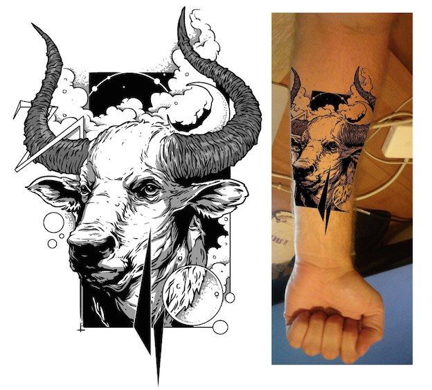 b765c5837 Arm tattoo illustration of a bull created by _Trickster_. The design is  hand sketched and black and white. #taurus #tattoo #ink
