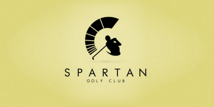 The face of the Spartan warrior is a golfer taking a swing.