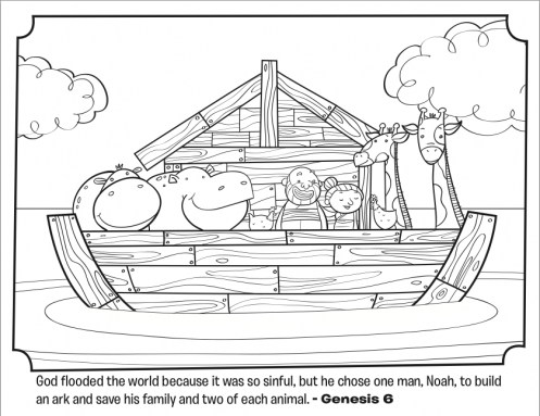 kids coloring page from whats in the bible featuring noahs ark from genesis 6 - Bible Coloring Pages Kids Noah