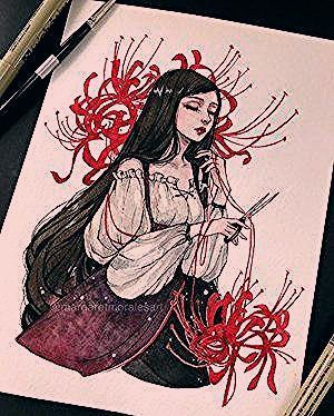#inktober Prompt 26: Soul Weaver ✂️ She weaves and guides souls to the afterlife 💛 Does she resemble a character you know? . . . . . #art #illustration #watercolor #fantasy #artofvisuals #weaver #characterdesign #inktober2018 #ink #traditionalart #margaretmoralesart