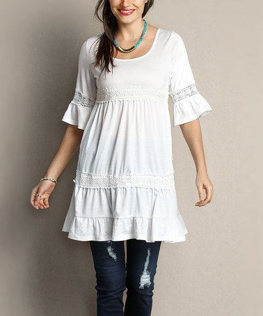 Another great find on #zulily! White Crochet Bell-Sleeve Tunic Dress - Plus #zulilyfinds