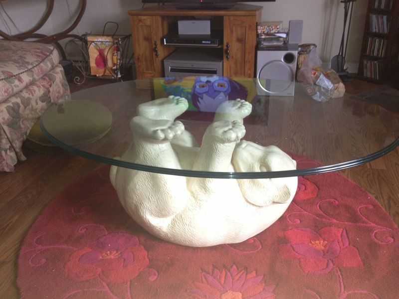 Kijiji Polar Bear Coffee Table With Glass Top