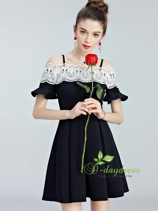 a4b8c18ca871 Shop Cheap Graduation Homecoming Dresses 2017 Under 80 Off The Shoulder  White Lace Black Zipper Up Graduation Homecoming Dress ItemYHC0013F at ...