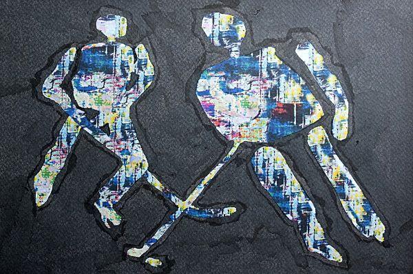 """""""Wir leben alle unter dem gleichen Himmel, aber wir haben nicht alle den gleichen Horizont."""" Konrad Adenauer """"Eishockey"""" Mischtechnik: Tusche und Fotomanipulation von Jörg Schubert """"Eishockey"""" Mixed media: Ink and photo manipulation by Jörg Schubert #art #kunst #mischtechnik #mixed #media #fotomanipulation #ink #tusche #glitch #pop #eishockey #player #sport #sports #photo #manipulation #zitate www.chanceforum.de"""